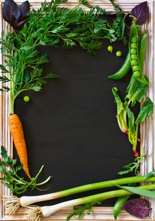 autumn food: Vegetables garden frame with copy space for text. Fresh carrot, garlic, basil, arugula and green peas.