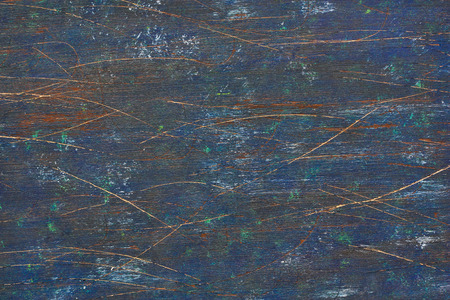 scarred: Old dark blue scratched wooden board background.