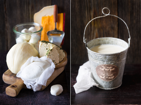 dairy farm: Fresh farm dairy products and bucket of milk. Rustic style. Collage. Stock Photo
