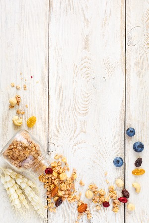 Homemade granola with blueberries and nuts on light background with copy space for text..