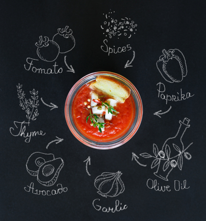gaspacho: Tasty no-cook soup gaspacho and chalk ingredients.