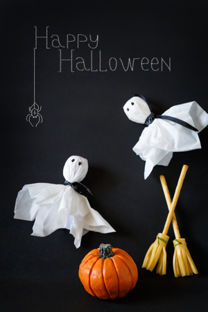 lolly pop: Halloween lolly pop ghosts and pretzel stick cheese broom. Stock Photo