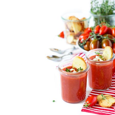 gaspacho: Tasty no-cook soup gaspacho and fresh ingredients.