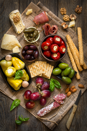 The Ultimate Appetizer Board with cheese and meat. Stok Fotoğraf