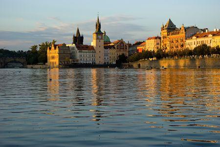 The sun evening view on the Prague with Vltava near the Charles bridge, Czech. Stock Photo - 5078157