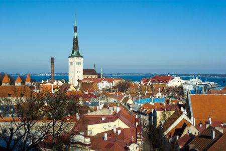 Old Tallinn panorama with Baltic sea on background, Estonia photo