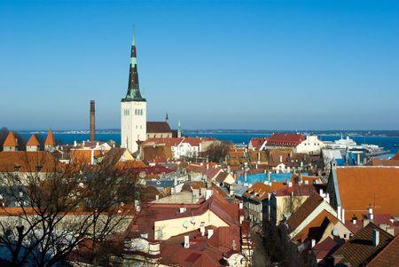 Old Tallinn panorama with Baltic sea on background, Estonia
