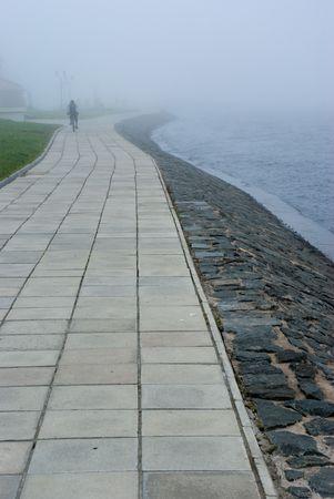 onega: Onega lake embankment in morning fog, Petrozavodsk, Russia