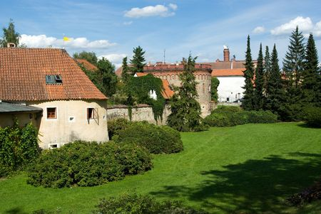 Remains of old town fortification in Trebon, Czech Republic photo