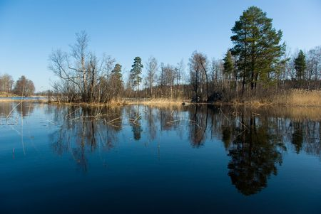 isthmus: Spring landscape, Vuoksi river in Leningrad oblast, Karelian Isthmus