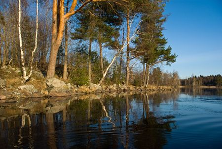 Vuoksi river spring landscape, Karelian isthmus, Russia Stock Photo - 6494689