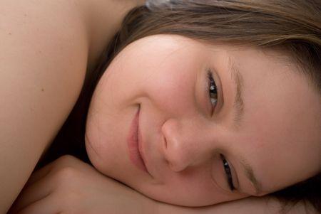 brune: Smiling girl Stock Photo