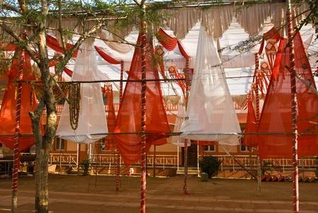 destination wedding: Decorated wedding area near Mahalasa Temple at Mardol in Ponda, Goa, India Stock Photo