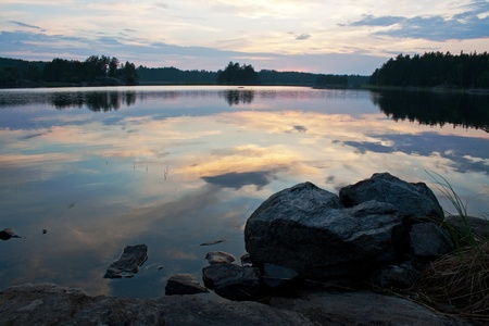 The Pihlajavesi (Saimaa) lake in Finland at sunset  photo