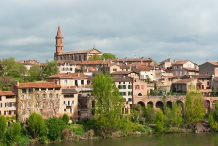 Albi cityscape - St-Madeleine church and river Tarn, France
