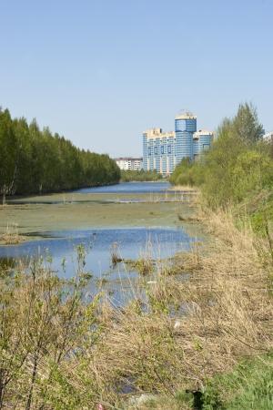 Gluharka river in Saint-Petersburg (Russia) in spring
