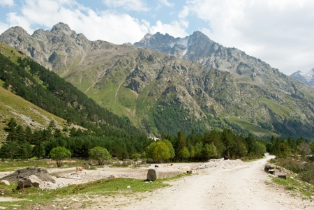 Mountain road in Adyr-su valley in Kabardino-Balkaria (Russia) Stock Photo