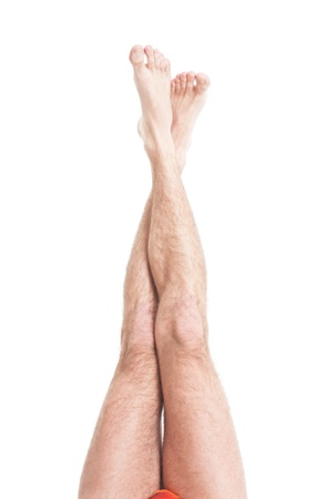 hairy male: Slim male hairy legs Stock Photo