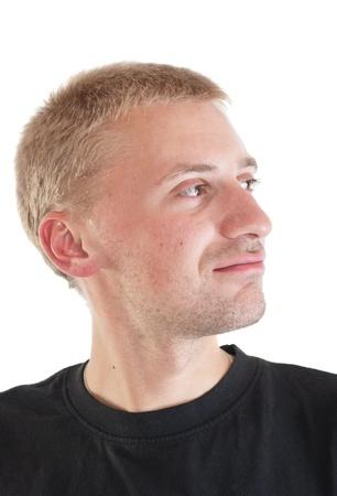 Portrait of thinking man on white background (isolated) Stock Photo