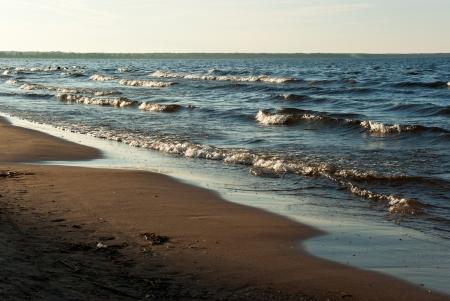Beach  Ladoga Crimea  of Lake Ladoga in evening sunlight, Leningrad Region, Russia
