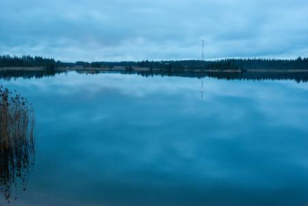 Lake in Leningrad oblast, Russia in night light