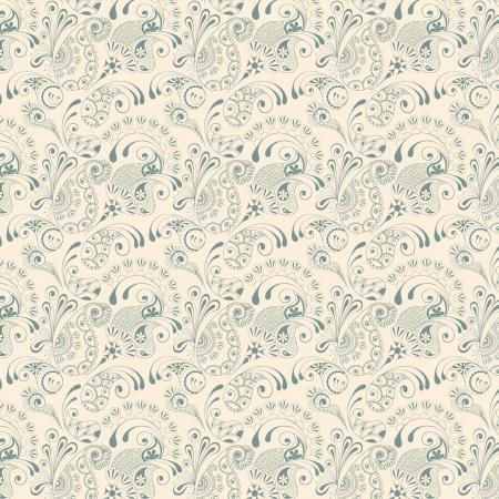 白い背景の上のペイズリー シームレスなパターン