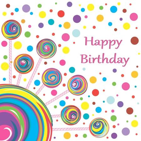 confections: lollipop birthday greeting card Illustration
