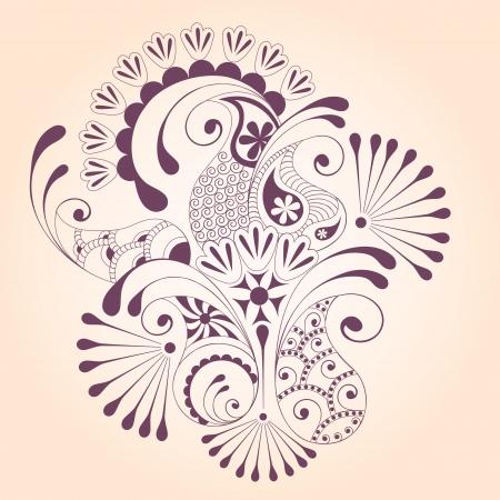 花ペイズリーのデザイン要素