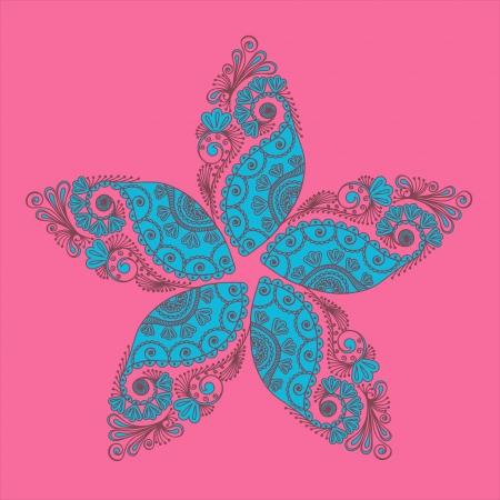抽象的な花と paisleys 落書きイラスト  イラスト・ベクター素材