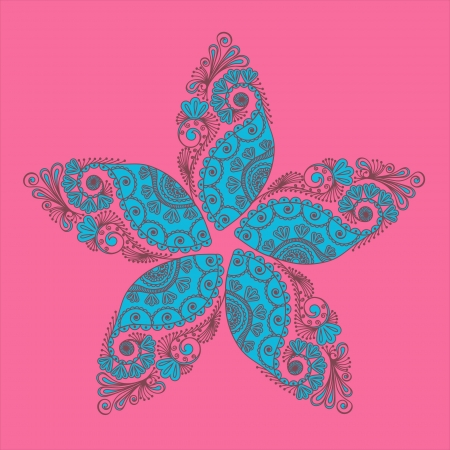 hindi: Abstract flowers and paisleys doodle illustration