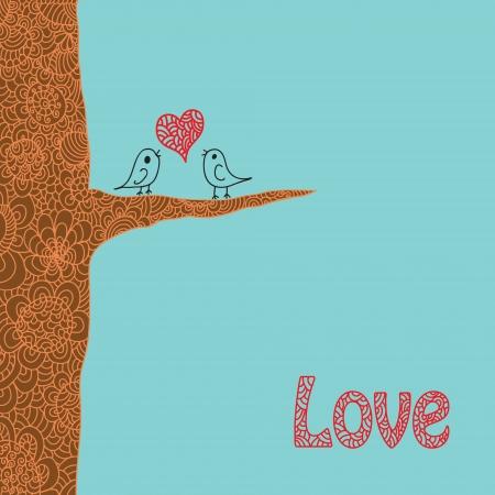 Twee vogels zittend aan de brunch van de liefde boom