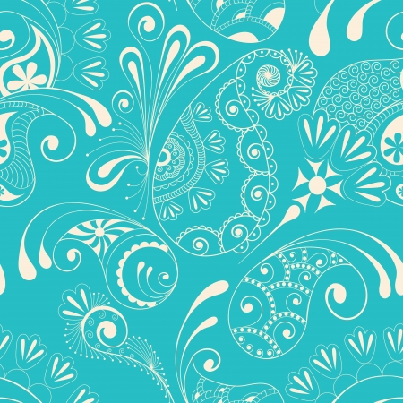 Paisley seamless pattern on blue background Vector