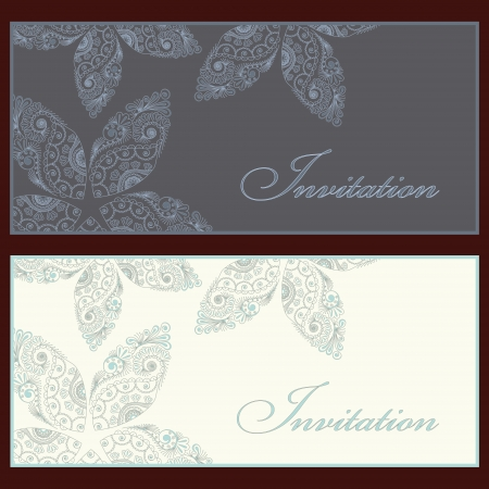 royal wedding: Collection of beautiful invitation vintage cards with floral elements