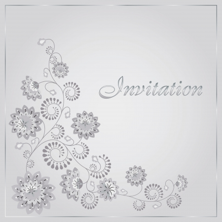 silver frame: Beautiful invitation card with floral elements