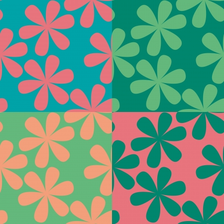 Set of four seamless patterns with simple flowers