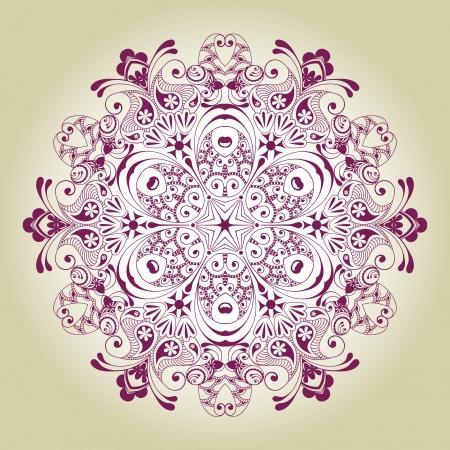 Abstract ornamental circle  Round lace Ilustração