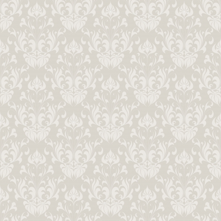 grey: Seamless vintage wallpaper pattern  Abstract floral ornament  Vector illustration