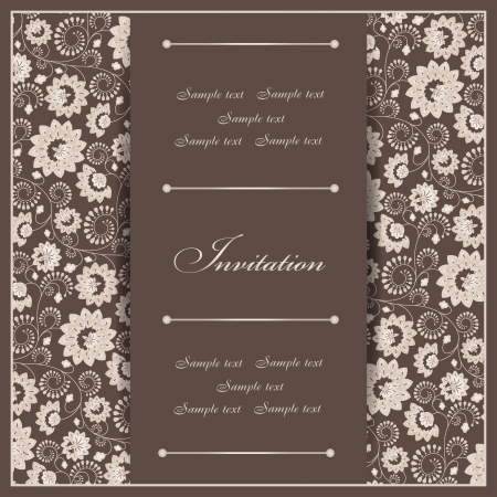 royal wedding: Beautiful invitation card with floral elements
