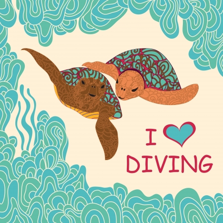 Couple of marine  turtles  swimming  in a tropical sea. Hand-drawing illustration