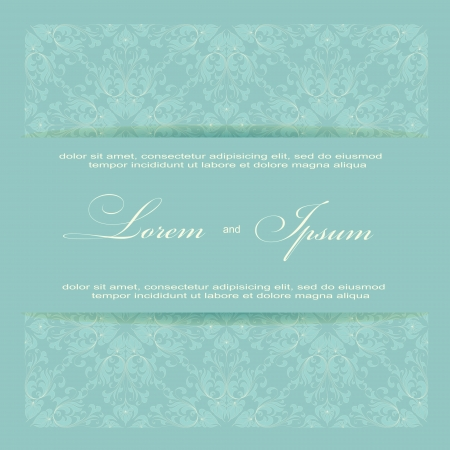 Beautiful invitation card with seamless damask background