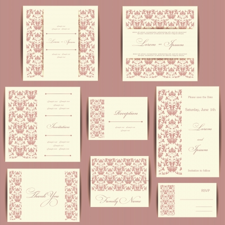 Set of wedding invitation cards or announcements with floral elements