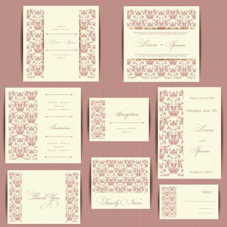 Set van bruiloft uitnodigingskaarten of aankondigingen met bloemen elementen
