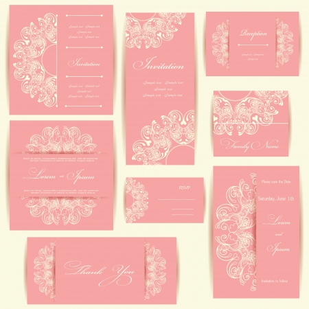 stationary border: Set of wedding invitation cards or announcements with floral elements