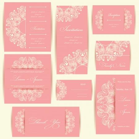Set van bruiloft uitnodigingskaarten of aankondigingen met florale elementen Stock Illustratie