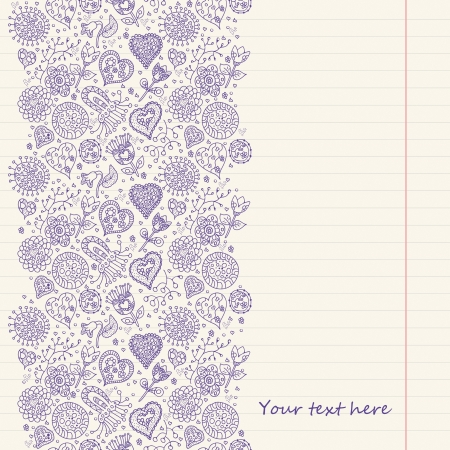 Vintage romantic background with hearts and flowers on lined paper. Place for you text Illustration