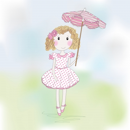 Cute little girl with umbrella. Hand-drowing vector illustration. Vector