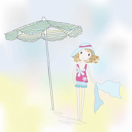 Cute girl on a seaside. Hand-drowing vector illustration.