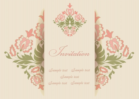 Beautiful invitation card with floral elements. Lined  background. Place for your tex. Vector