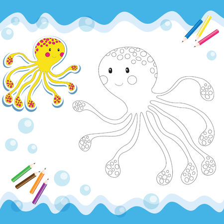 Cartoon octopus isolated on white. Coloring book. Vector illustration.