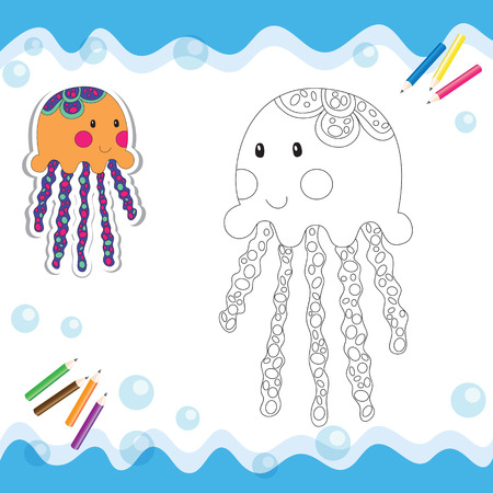Cartoon jellyfish isolated on white. Coloring book. Vector illustration.